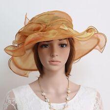 New Church Kentucky Derby Wedding Party Organza Wide Brim Dress Hat 317 gold