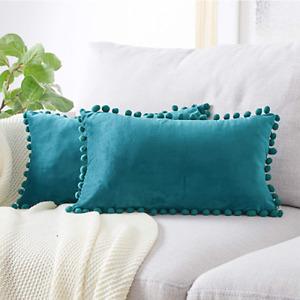 Airi Homes Vibrant Luxury Plush Cushion PomVelvet Lumbar Decorative Pillow 12x20