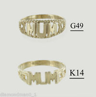 "9ct Yellow Gold ""MUM"" Ring and Signet Rings in Finger Sizes I-Q"