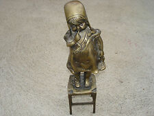 Antique Bronze Statue Old Young Girl Standing On Chair 11 1/4 x 3 1/ 2 Beautiful
