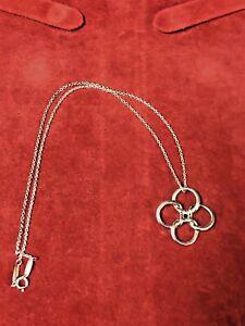 "Tiffany & Co Sterling Elsa Peretti Four Leaf Clover, Quadrifoglio 16"" Necklace"