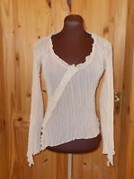 RIVER ISLAND light beige crinkle chiffon gypsy boho long sleeve tunic top 14 42