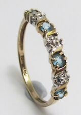100% Genuine Vintage 10ct Solid Yellow Gold 0.40ct Topaz Eternity Ring Sz 6 US