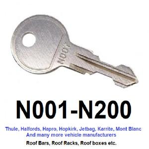 Thule Roof Bar, Roof Box, Roof Rack Keys to Code (N001 to N200)