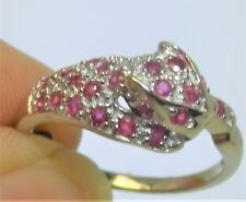 Ruby Diamond Panther Ring 925 Sterling Silver  Leopard Cat Real Stones Size O