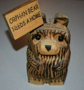 CHAINSAW CARVED BEAR WOOD SCULPTURE NATURAL ART