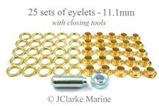 Boat Cover/Canopy Fittings - Eyelet kit 11.1mm with tools brass
