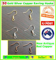 50x Silver Gold Red Copper Earring Hook Hooks Coil Ear Wire Posts Backs Findings