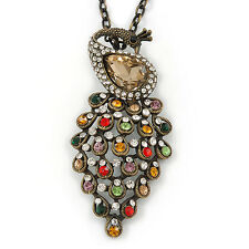 Vintage Inspired Multicoloured Crystal Peacock Pendant with Chain In Bronze Tone
