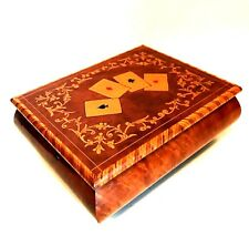 Vintage Playing Card Box Made in Italy Wooden Two Deck Chest 6.5 inches Long