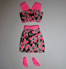 Barbie, Sindy, My Scene Doll clothes: Pink & black skirt & top, pink shoes
