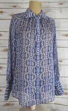 ROBERT GRAHAM Womens Small Periwinkle Blue Animal Print LS Silk Shirt Sheer