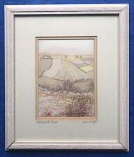 Original Art Vintage Tapestry Picture Of Landscape Patchwork Fields Jane Wagner