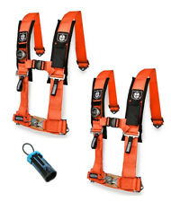 "PRO ARMOR 4 Point Harness 3"" Pads Seat Belt PAIR W BYPASS ORANGE RZR XP TURBO 16"