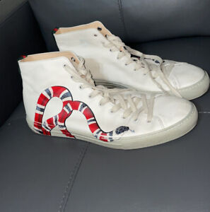 Authentic Gucci red, white, blue snake Mens High tops sneakers Tennis shoes 12