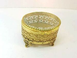 Vintage Beveled Glass Ormolu Flower Filigree Jewelry Box Casket Gold