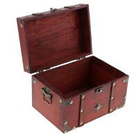 Retro Wooden Treasure Chest Wood Jewelry Storage Box Case Organizer B