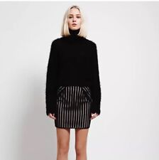 Goldie London Black & Nude Stripy Lace Mini Skirt Size Medium 8 10 Women's New