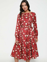Lindy Bop 'Laurel' Red Baking Print Vintage Kitsch Midi Shirt Dress BNWT.