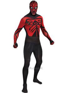 Mens Star Wars Darth Maul Adult Fancy Dress 2nd Skin Sci-Fi Movie Costume