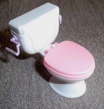 BARBIE KEN DOLL HOUSE BATHROOM FURNITURE - PINK & WHITE TOILET