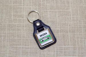 Skoda Rapid Coupe Keyring - Leatherette And Chrome Keyfob