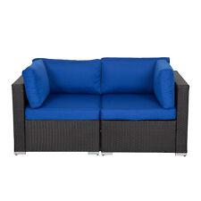 Kinbor 2 Pcs Rattan Patio Outdoor Sofa Set Wicker Chairs Furniture Soft w/ Arm