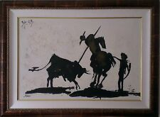 A Large Framed Picasso Silhouette Style Bull Fight painting canvas signed JASON