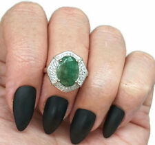 Emerald & White Zircon Ring, Size 6.75, Sterling Silver, Halo Ring, Heart Ring