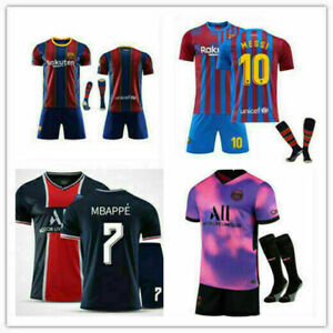 UK New Kids Boys Football Kits Soccer Training Jersey Top Shorts Socks Outfits