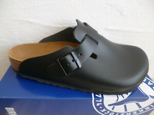 Birkenstock Boston Clogs Mules Black Real Leather 60191 New