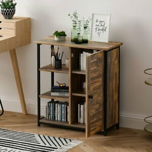 Industrial Style Storage Cabinet With 3 Open Shelves Sideboard