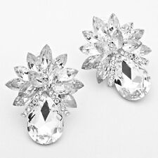 "2"" clear silver rhinestones crystal clip on earrings non pierced jewelry M"