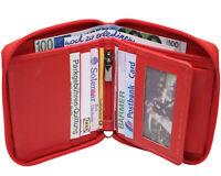 Leder Geldbörse THE BOX Rot RFID Geldbeutel mit Wiener Schachtel Portemonnaie