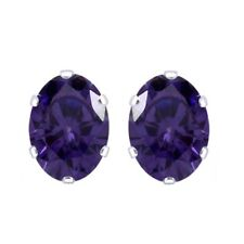Basket Oval Amethyst Solitaire Stud Earrings 14K White Gold Rhodium Plated 5X3mm