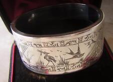 Antico Vittoriano Estetica Argento Sterling Polsino Bracciale-Heron & RONDINE BIRD