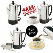 Electric Coffee Percolator Vintage Maker Pot Stainless Steel 6-Cup Portable New
