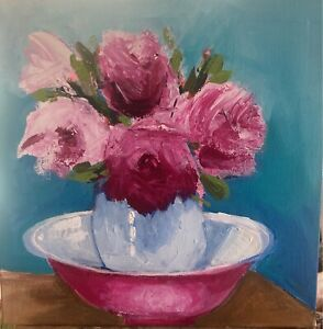 "Original Acrylic Painting - "" Jug With Roses"""