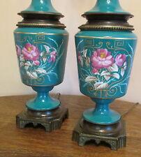 Antique France Old Paris Hand Painted Teal Blue Porcelain&Bronze Table Lamps Pr