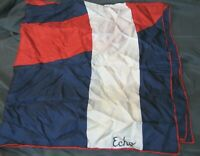 "ECHO VINTAGE SILK SCARF Red White Blue COLORBLOCK PRINT Retro Mod 30"" SQUARE"
