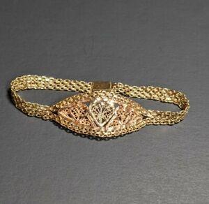 "14k Black Hills Gold Bracelet Filigree Heart Design 7"" - 9.3 Grams"