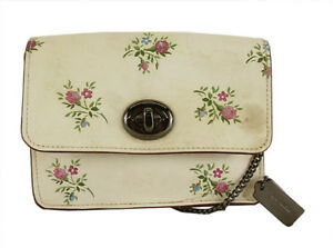 COACH 22553 BOWERY Beige Leather Metallic Floral Print XBody Clutch Msrp $295