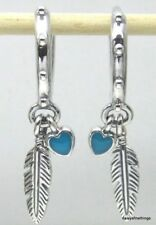AUTHENTIC PANDORA  EARRINGS SPIRITUAL FEATHER TURQUOISE DANGLES #297205EN168