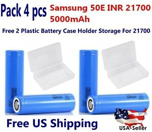 4 x Samsung 21700-50E Rechargeable 5000mAh Battery flat top w/ 2 free dual case
