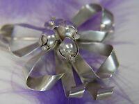"Vintage 2"" x 2 1/4"" Bow Ribbon Bud Flowers 0.925 Sterling Silver Brooch Broach"
