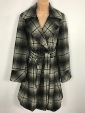 WOMENS BETTY JACKSON BLACK GREY CHECK BUTTON UP JACKET COAT WITH BELT SIZE 10