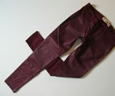 HOLLISTER JEGGINGS jeans pants STRETCH Wine Red BURGUNDY Coated Front size 3 W26