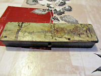 plumier ancien napoléon 3 en carton bouilli litho décor russe eneigé