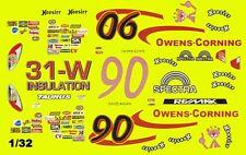 #90 David Ragan Owens Corning 1/32nd Scale Slot Car Waterslide Decals