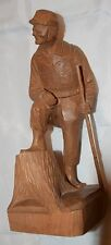 "LARGE VINTAGE QUEBEC WOOD CARVING SCULPTURE SIGNED BY A. PELTIER ""SOLDIER"""
